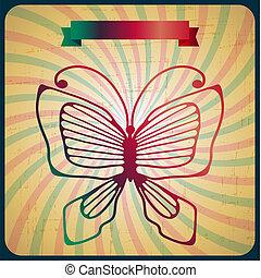 farfalla, vecchio, manifesto, fondo., retro, scrach