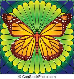 farfalla, vetro macchiato