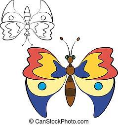 farfalla, vettore, astratto