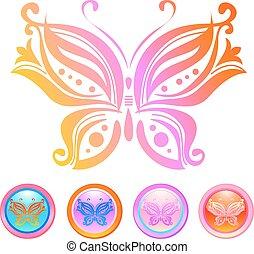 farfalla, vettore, disegno
