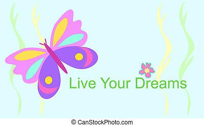 farfalla, vivere, tuo, fare un sogno
