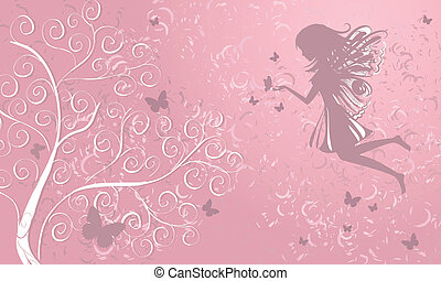 farfalle, albero, fata