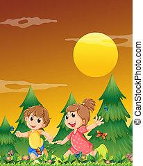 farfalle, bambini, gioco, giardino, due