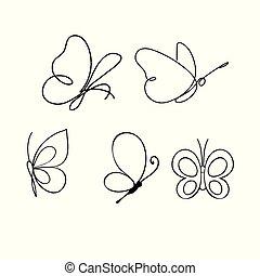farfalle, bianco, isolato, set, illustrazione, vettore