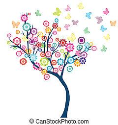 farfalle, fiori, albero