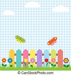 farfalle, fiori, recinto, colorito