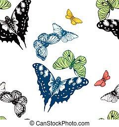 farfalle, pattern., acquarello, seamless
