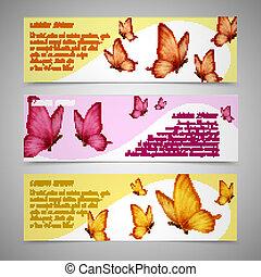farfalle, set, bandiere