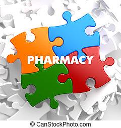 farmacia, puzzle., multicolor