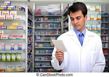farmacista, lettura, prescrizione, farmacia
