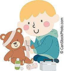 fasciatura, capretto, ragazzo, giocattolo, illustrazione, orso