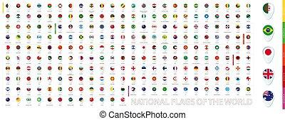 fascicolato, continent., alphabetically, tutto, mondo, blu, design., bandiere, perno, icona, nazionale