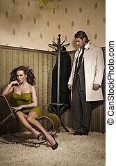 fascino, foto, stile, coppia, attraente