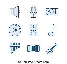 fascio, icone, musica, set, audio