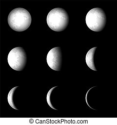 fase, vettore, set, luna