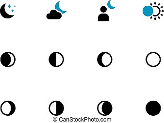 fasi, icone, luna, fondo., duotone, bianco