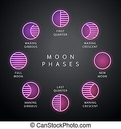 fasi luna, neonicons, set