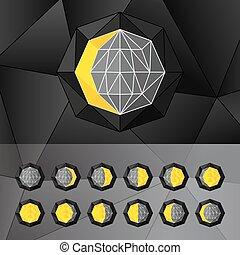 fasi, set, icone, stile, triangolare, wireframe., luna bianca