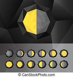 fasi, set, icone, triangolare, luna, style.