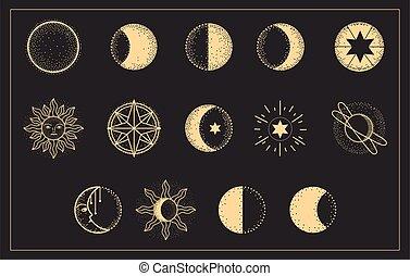 fasi, set, luna
