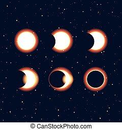 fasi, sole, eclissi, clipa, vettore, solare