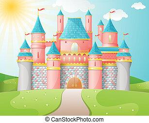 fata, castello, racconto, illustration.