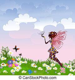 fata, celestiale, prato, fiore