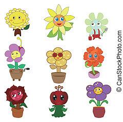 fata, fiore, set, cartone animato, icona