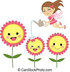 fata, fiori, giardinaggio