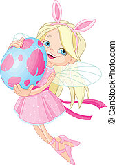 fata, pasqua, carino, uovo, volare