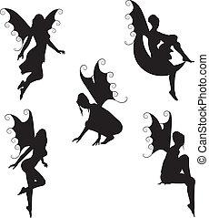 fata, vettore, 5, silhouette