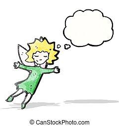 fata, volare, cartone animato, ragazza