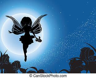 fata, volare, silhouette
