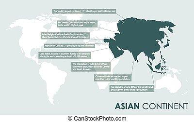 fatti, asiatico, fondo, continente