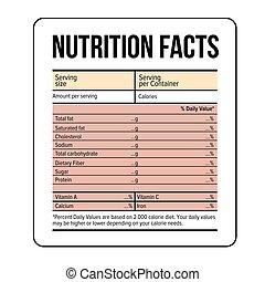 fatti, nutrizione, vettore, sagoma, etichetta