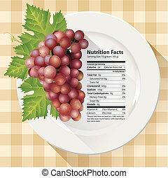 fatti, rosso, nutrizione, uva