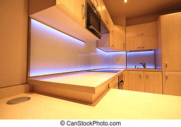 fatto, arredamento, condotto, retroilluminato, costume, rgb, vetro, cucina, lusso, moderno