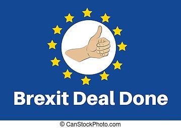fatto, brexit, affare, vettore, sfondo bianco, illustrazione, eu, -, pollici