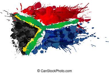 fatto, colorito, bandiera, schizzi, africano, sud
