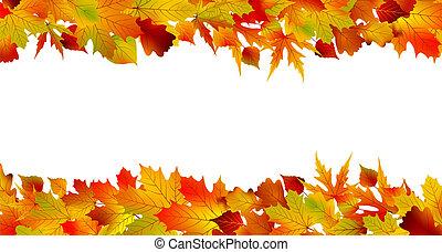 fatto, colorito, leaves., eps, autunno, 8, bordo