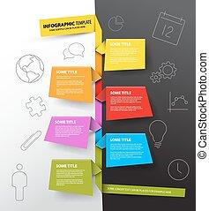 fatto, colorito, timeline, infographic, sagoma, carte, relazione