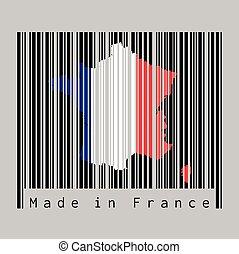 fatto, contorno, francia, france., bandiera, grigio, colorare, barcode, mappa, forma, set, nero, text:, fondo