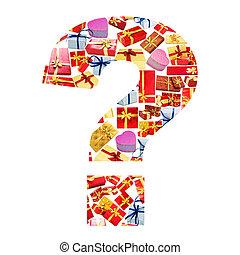 fatto, domanda, alfabeto, -, marchio, giftboxes