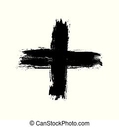 fatto, grunge, isolato, mano, cross., colpo, spazzola, fondo, disegnato, croce