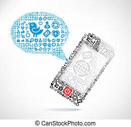 fatto, icone, mobile, testo, telefono, ??of, messaggio, palloni
