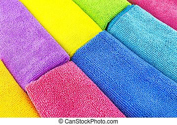 fatto, materiale, accatastato, colori, lato, lato, cima, vista., differente, fondo, microfiber