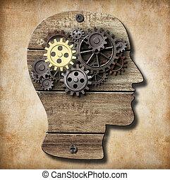 fatto, oro, metallo, uno, cervello, arrugginito, ingranaggi, modello
