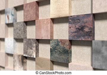 fatto, parete, quadrato, lato, elementi, vista