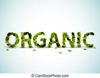 fatto, parola, -, vettore, verde, organico, mette foglie, fresco