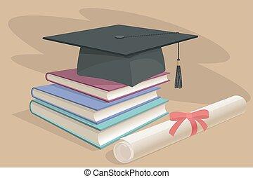 fatto, pendenza, diploma, berretto laurea, maglia, nero, sparviere, rotolo